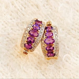 Marked 925 Plated Sterling amethyst earrings